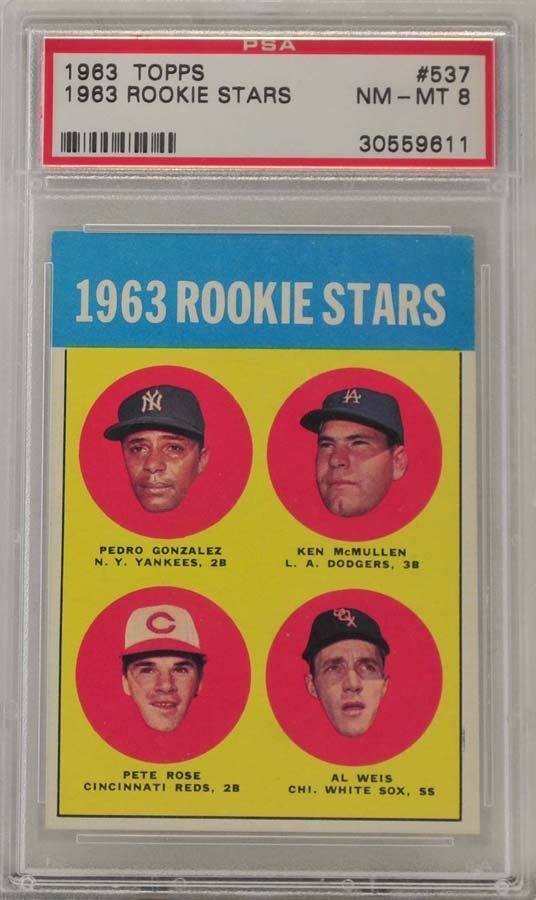 1963 Topps Pete Rose Rookie PSA Graded 8