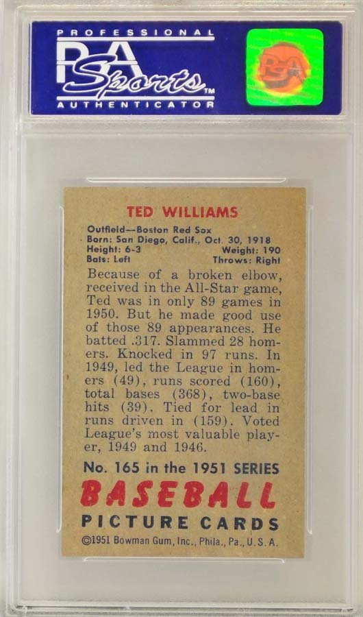 1951 Topps Ted Williams PSA Graded 8 - 2