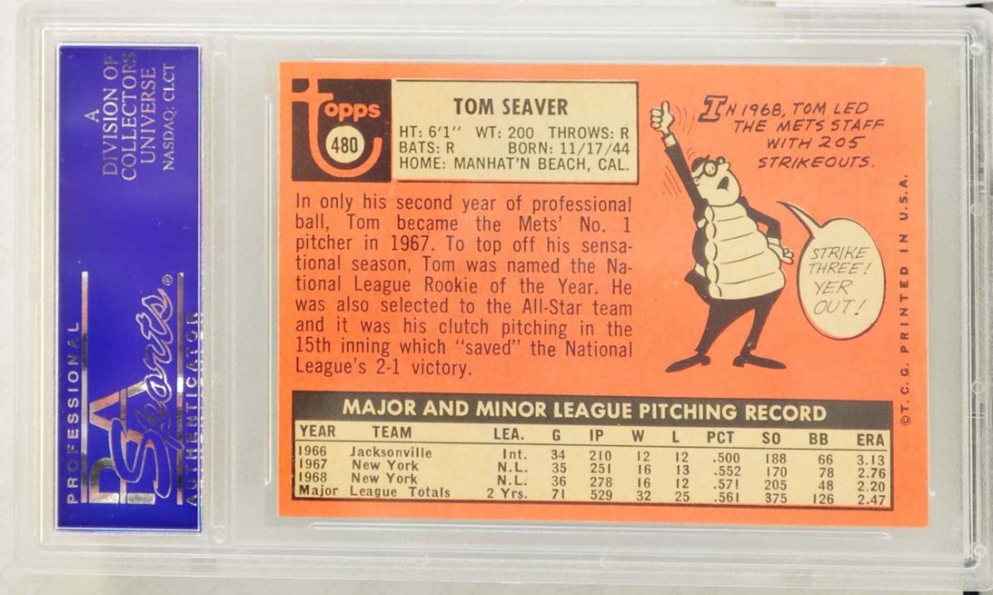 1969 Topps Tom Seaver Rookie PSA Graded 8 - 2