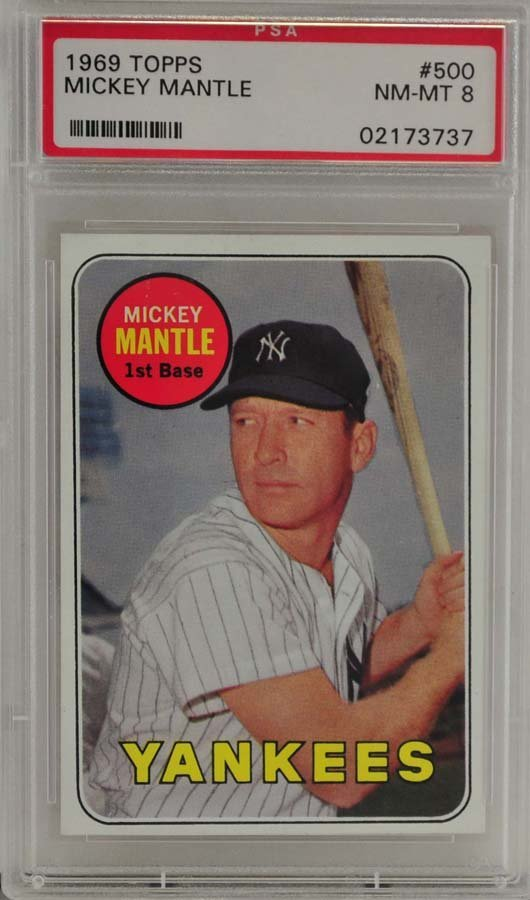 1969 Topps Mickey Mantle PSA Graded 8