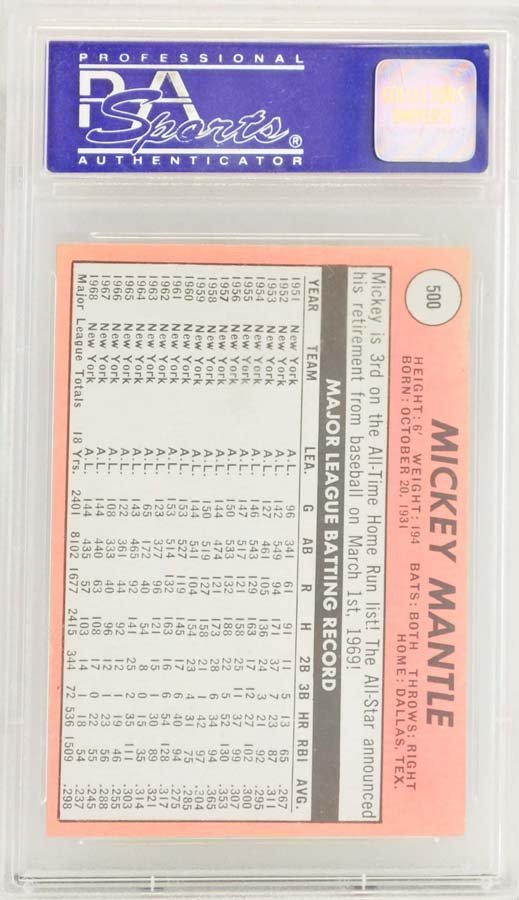 1969 Topps Mickey Mantle PSA Graded 8 - 2
