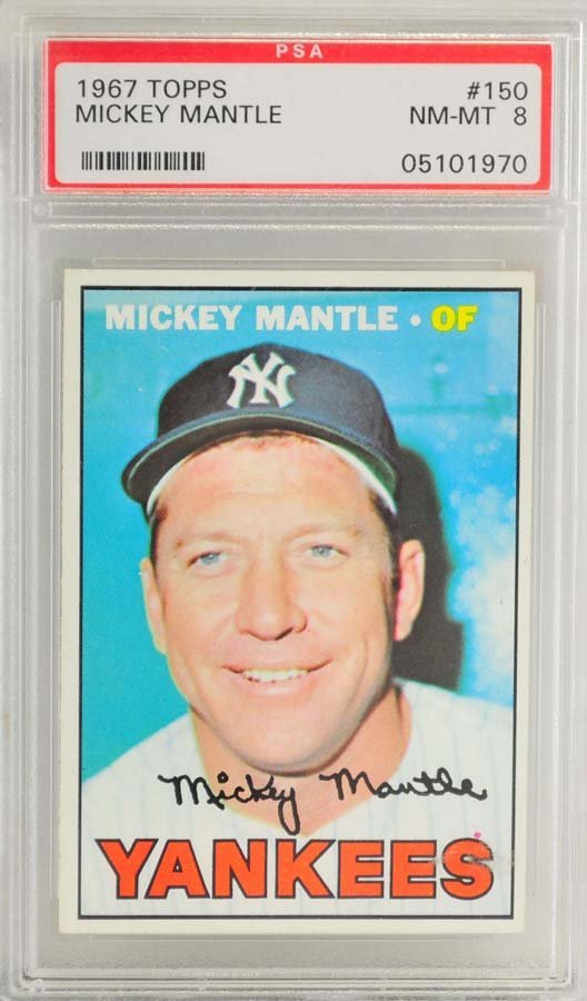 1967 Topps Mickey Mantle PSA Graded 8