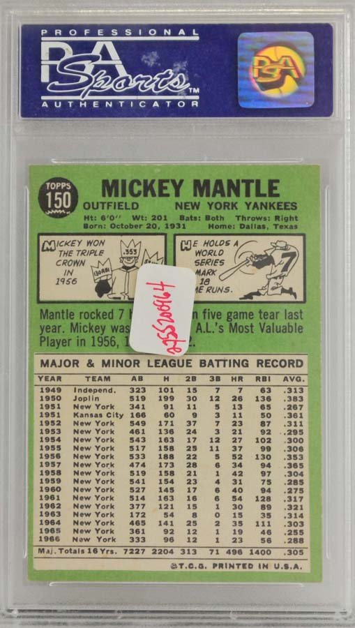 1967 Topps Mickey Mantle PSA Graded 8 - 2