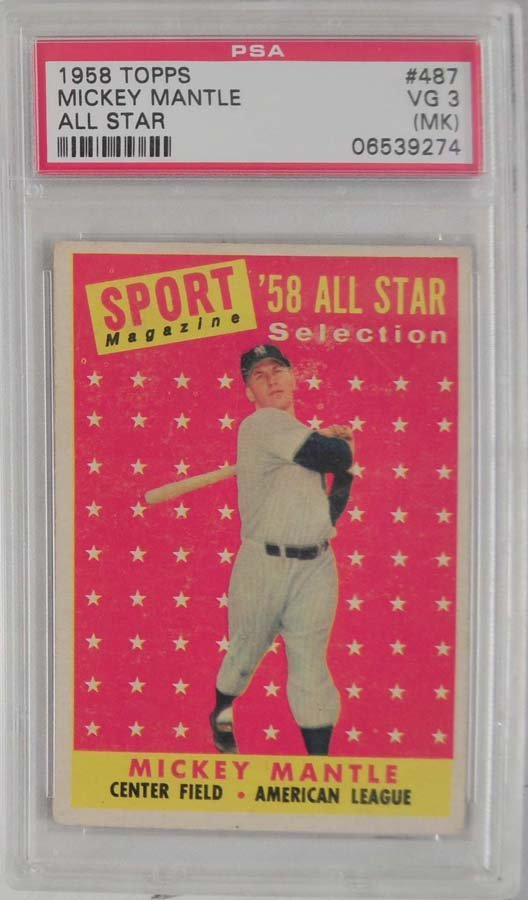 1958 Topps Mickey Mantle All-Star PSA 3