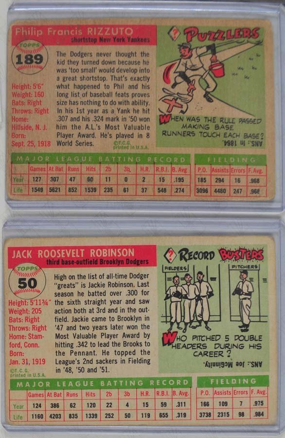 5 1955 Topps HOF Baseball Cards - 4