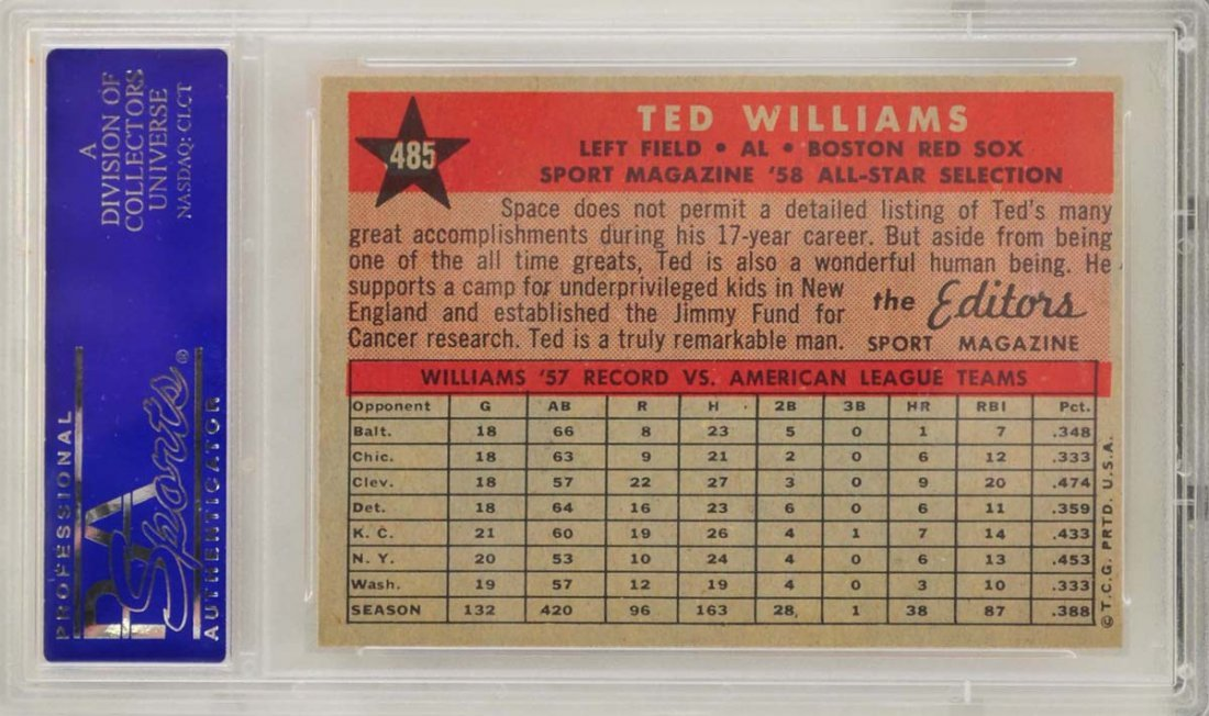 1958 Topps All-Star Ted Williams PSA 8 - 2