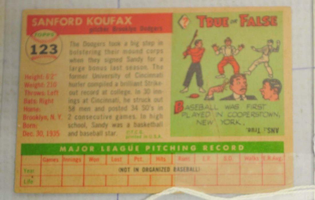 1955 Topps Sandy Koufax Rookie Card - 2