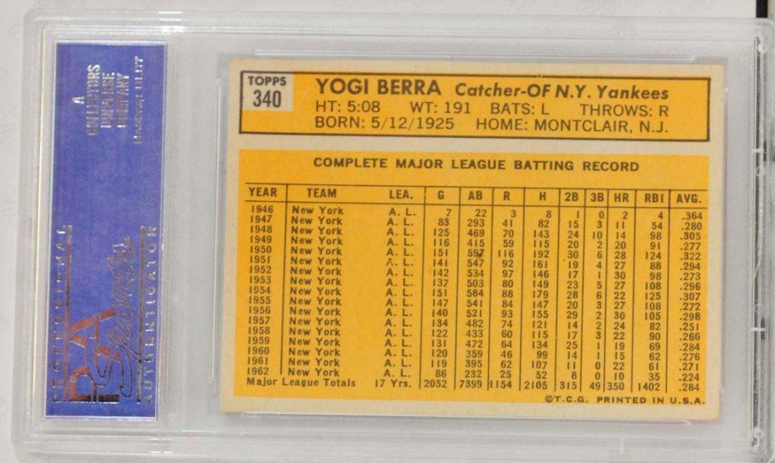 1963 Topps Yogi Berra PSA Graded 8 - 2