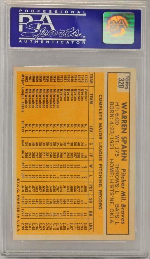 1963 Topps Warren Spahn PSA Graded 8
