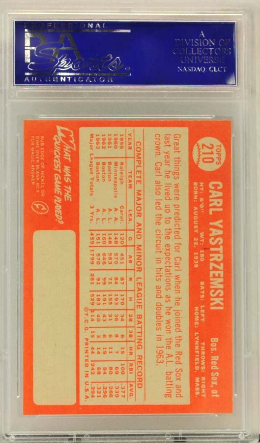1964 Topps Carl Yastrzemski PSA Graded 8 - 2