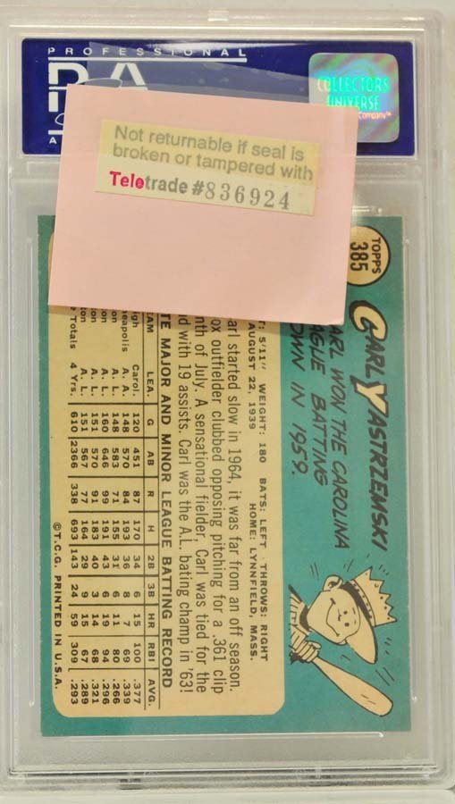 1965 Topps Carl Yastrzemski PSA Graded 8 - 2