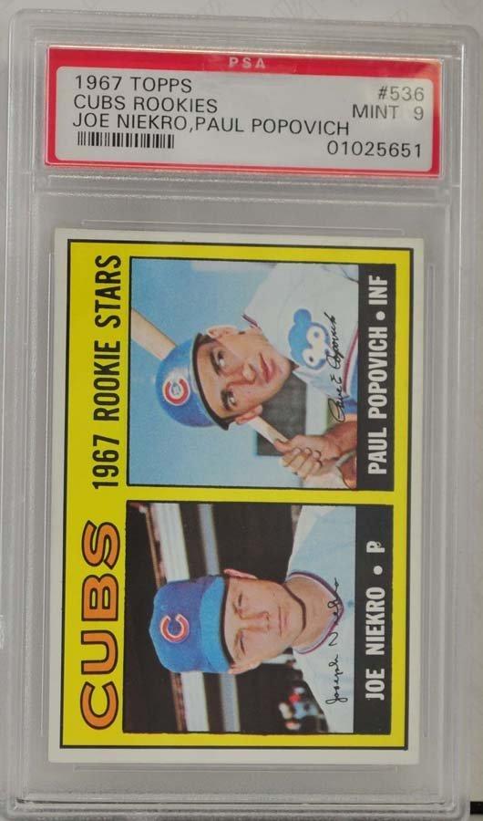 1967 Topps Cubs Rookies Joe Niekro PSA 9