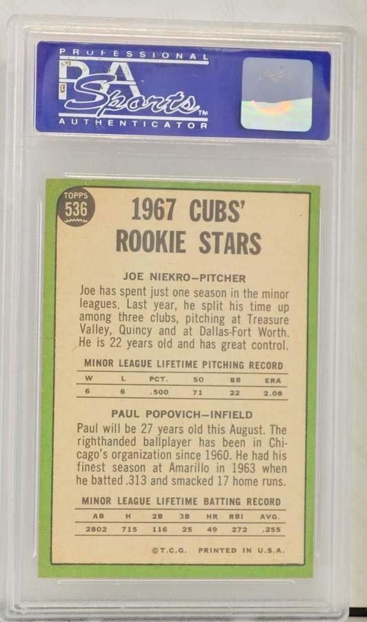 1967 Topps Cubs Rookies Joe Niekro PSA 9 - 2