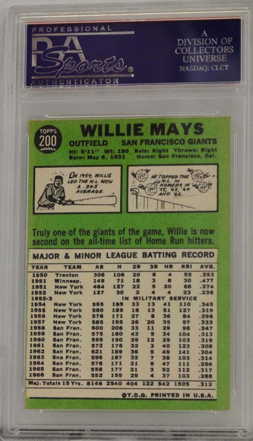 1967 Topps Willie Mays PSA Graded 8 - 2