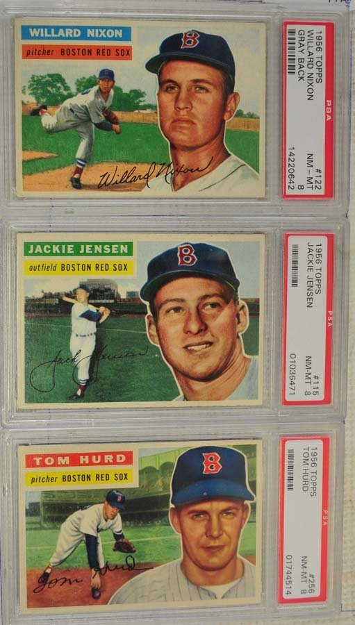 8 1956 Topps Baseball Cards PSA Graded 8