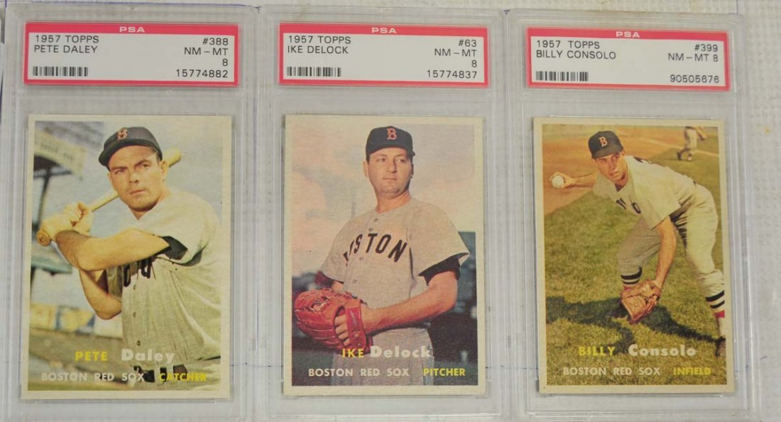 8 1957 Topps Baseball Cards PSA Graded 8