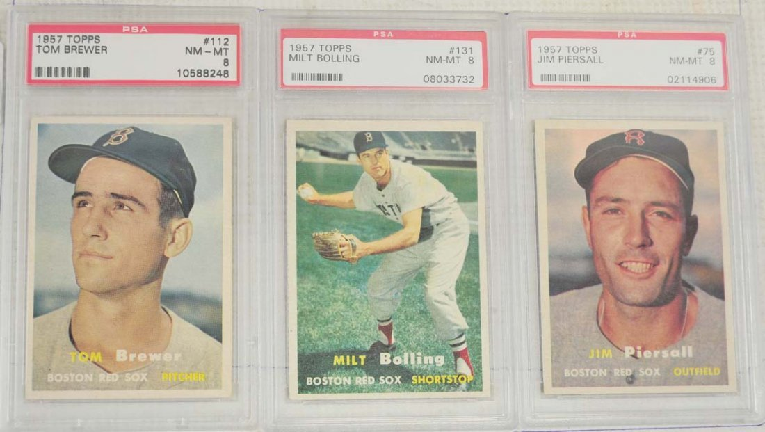 8 1957 Topps Baseball Cards PSA Graded 8 - 3
