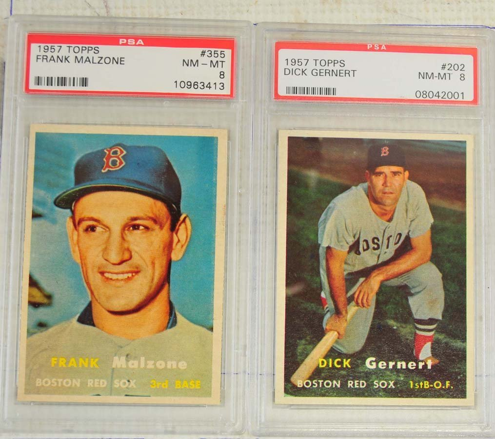 8 1957 Topps Baseball Cards PSA Graded 8 - 5