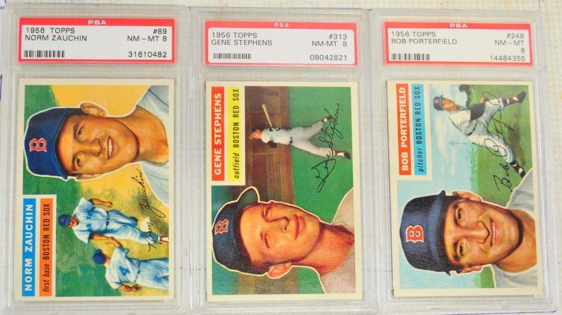 5 1956 Topps Baseball Cards PSA Graded 8