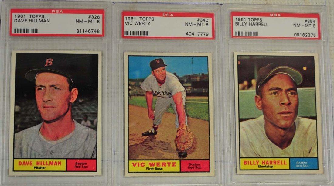 10 1961 Topps Baseball Cards PSA Graded 8