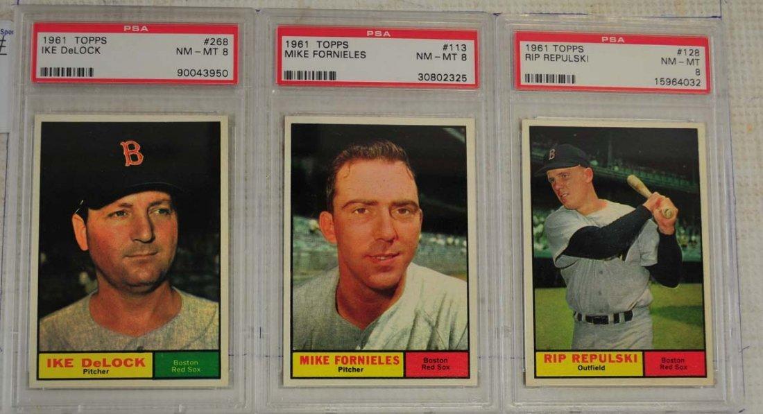 10 1961 Topps Baseball Cards PSA Graded 8 - 3