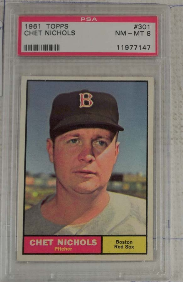 10 1961 Topps Baseball Cards PSA Graded 8 - 7