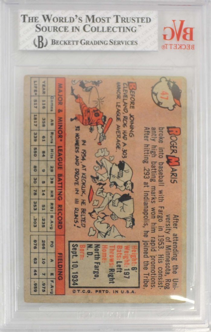 1958 Topps Roger Maris Rookie Card - 2