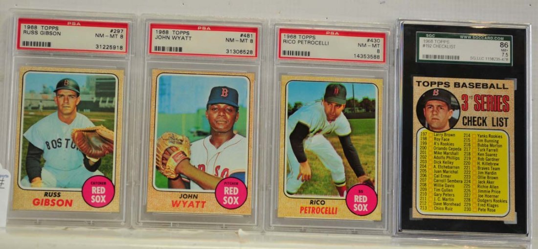 9 1968 Topps Graded Cards PSA 8 and SGC 86