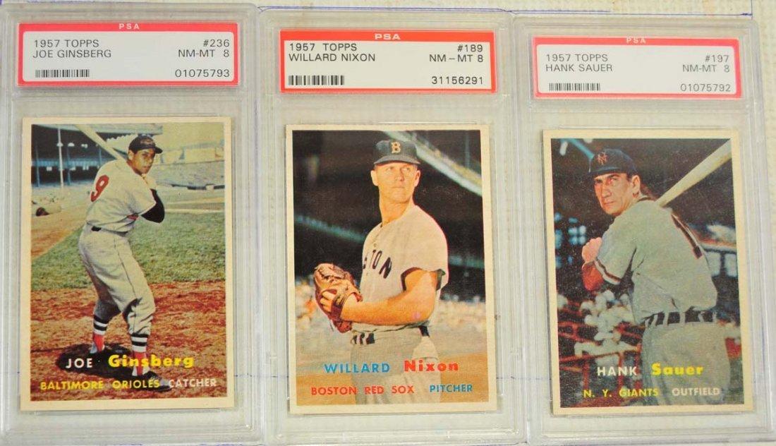 8 1957 Topps Baseball Cards PSA Graded 8