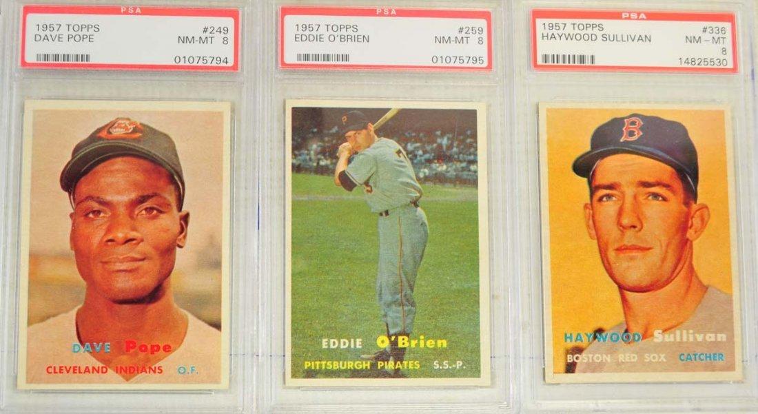 8 1957 Topps Baseball Cards PSA Graded 8 - 3