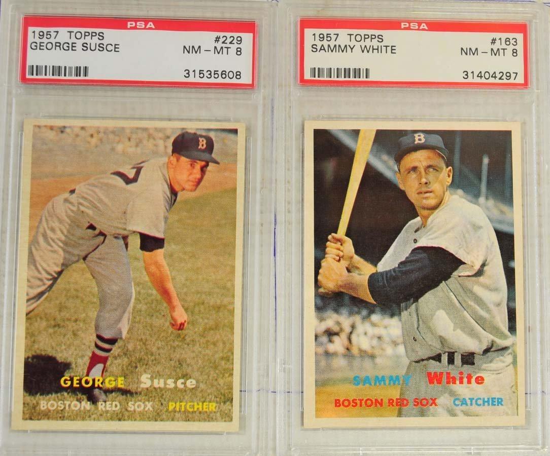 8 1957 Topps Baseball Cards PSA Graded 8 - 5