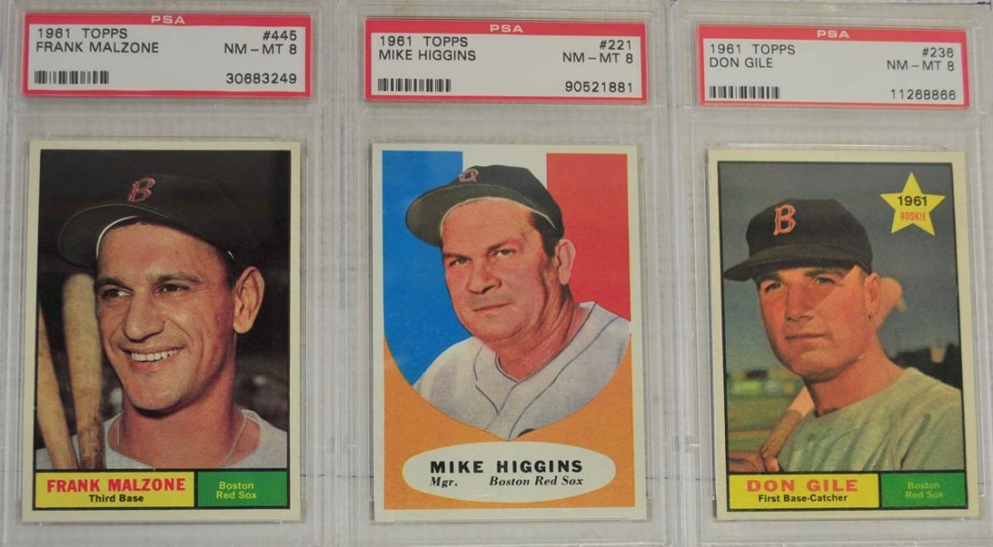 10 1961 Topps Baseball Cards PSA Graded 8