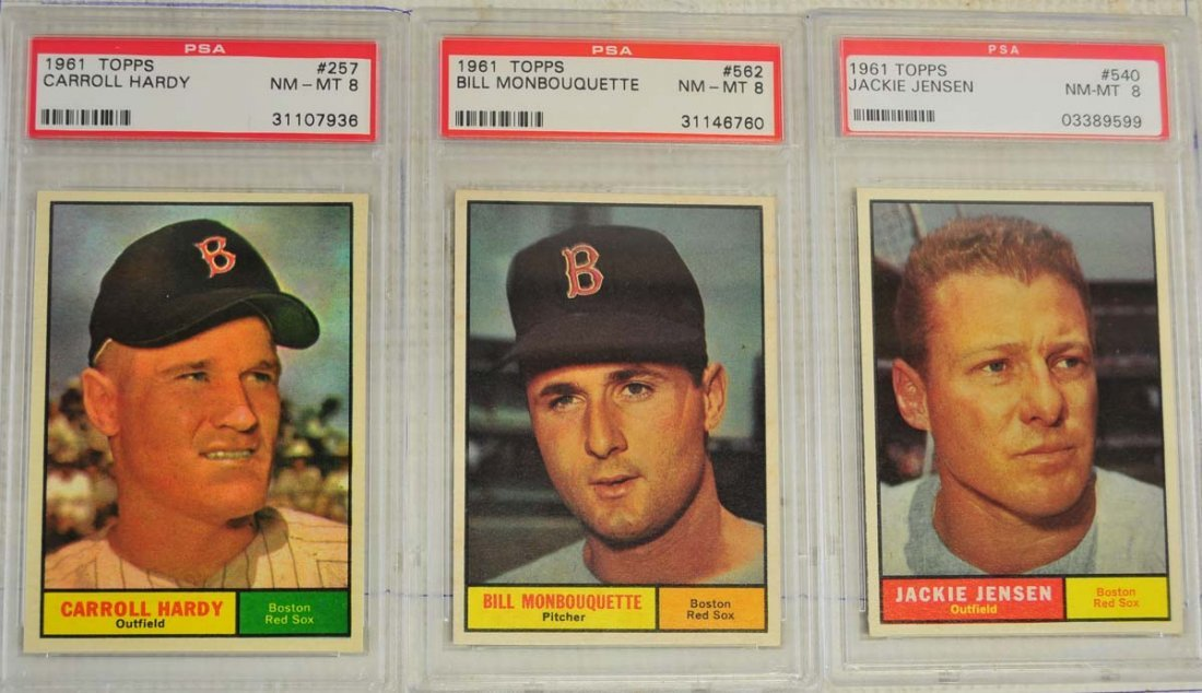 10 1961 Topps Baseball Cards PSA Graded 8 - 3