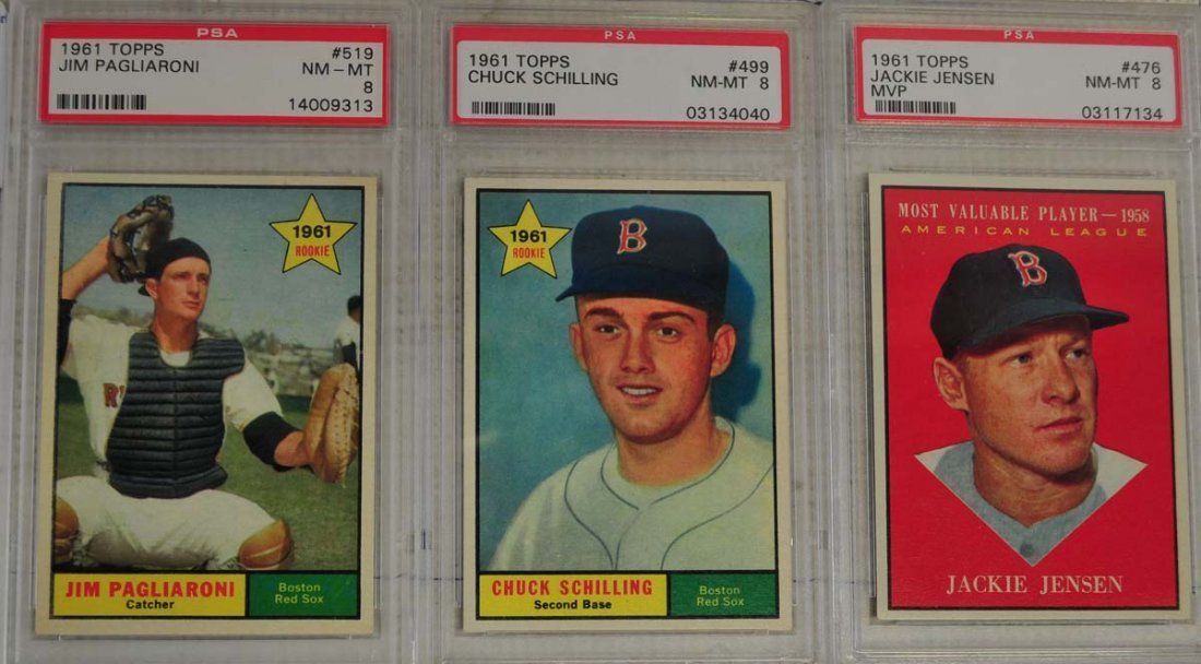 10 1961 Topps Baseball Cards PSA Graded 8 - 5