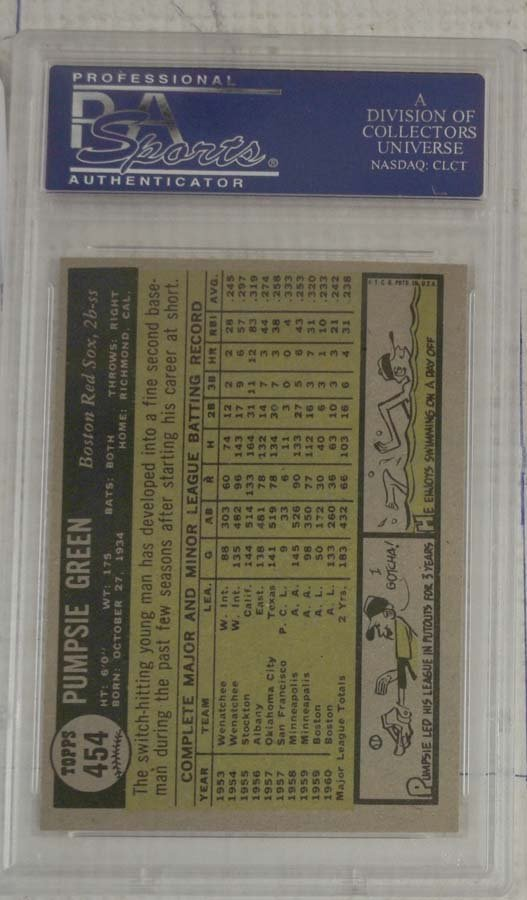 10 1961 Topps Baseball Cards PSA Graded 8 - 8