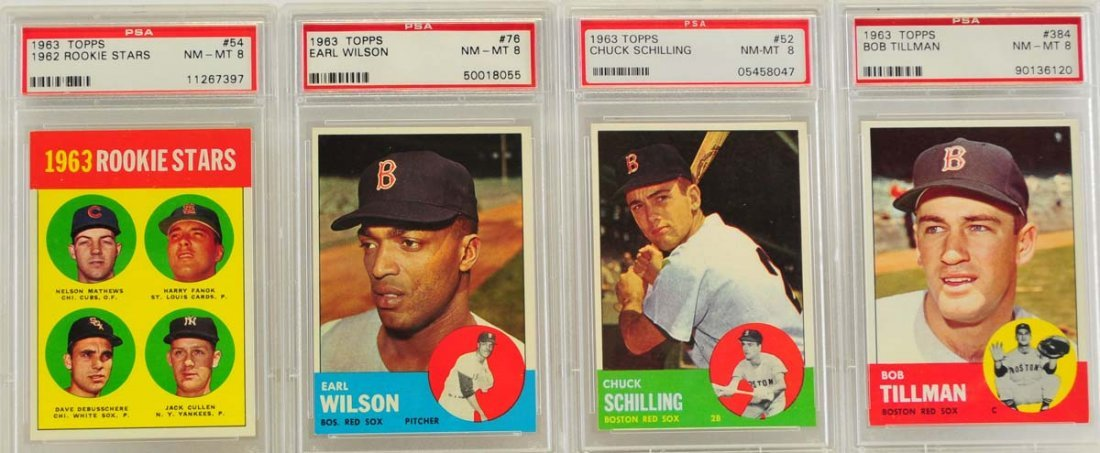 10 1963 Topps PSA 8 Graded Red Sox Cards - 3