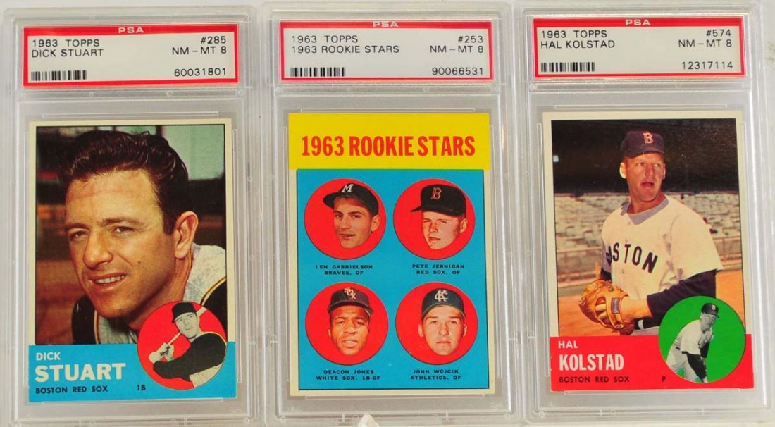10 1963 Topps PSA 8 Graded Red Sox Cards - 5