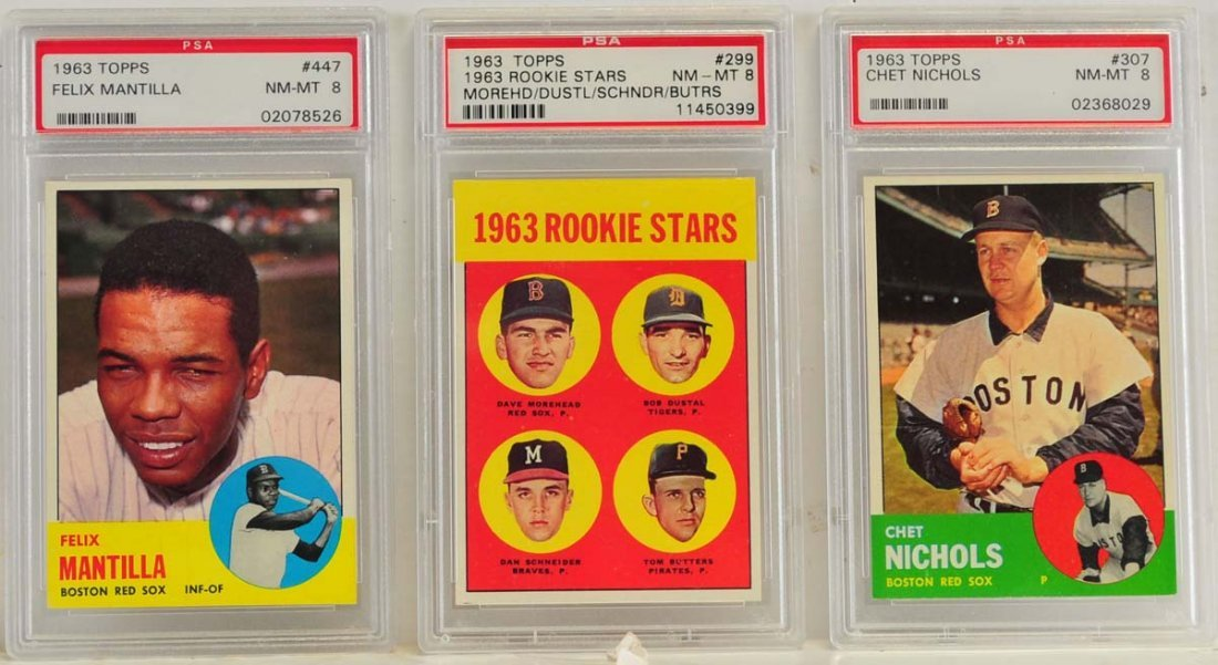 10 1963 Topps PSA 8 Graded Red Sox Cards