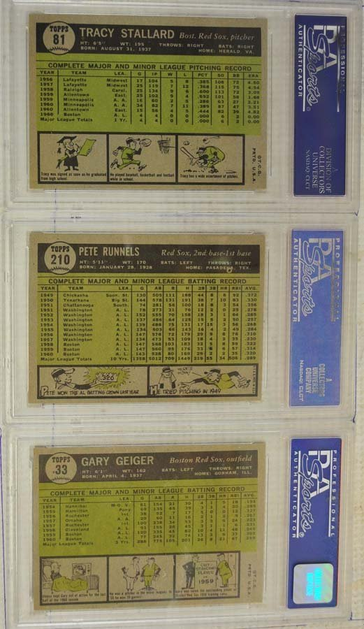 12 1961 Topps Baseball Cards PSA Graded 8/9 - 8