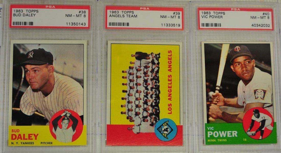10 1963 Topps Baseball Cards PSA Graded 8 - 5