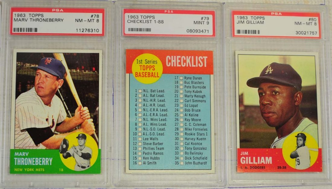10 1963 Topps Baseball Cards PSA Graded 8 - 5