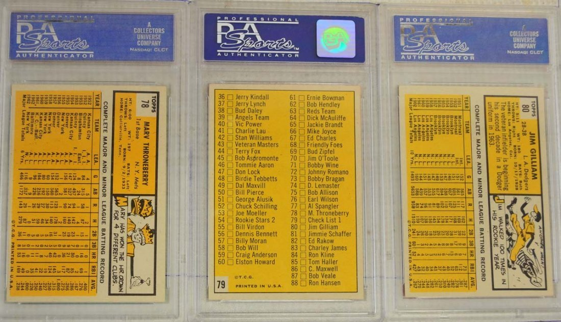 10 1963 Topps Baseball Cards PSA Graded 8 - 6