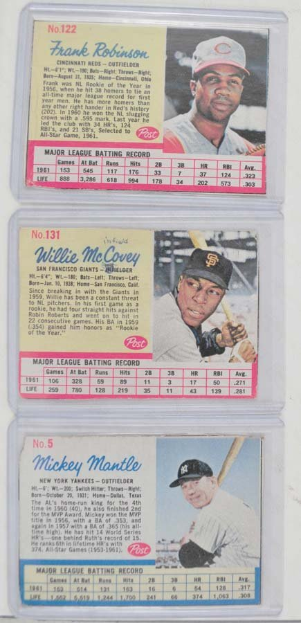7 1962 Post Cereal Cards