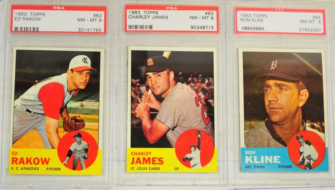 10 1963 Topps Baseball Cards PSA Graded 8