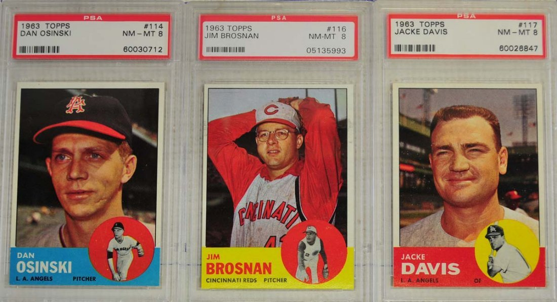 10 1963 Topps Baseball Cards PSA Graded 8