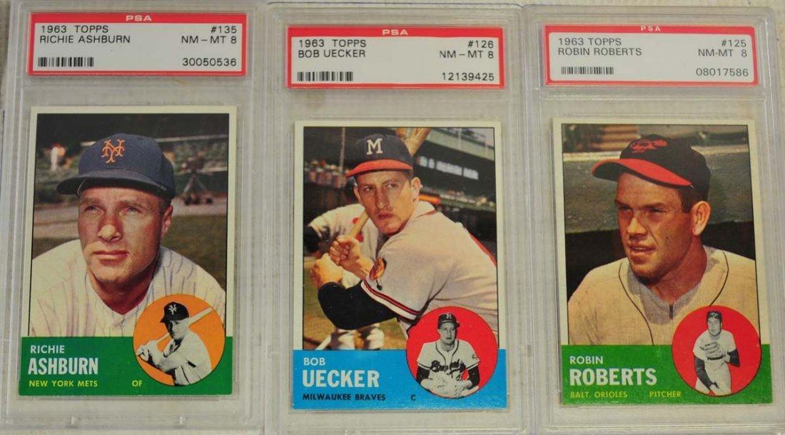 5 1963 Topps Baseball Cards PSA Graded 8