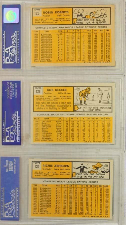 5 1963 Topps Baseball Cards PSA Graded 8 - 2