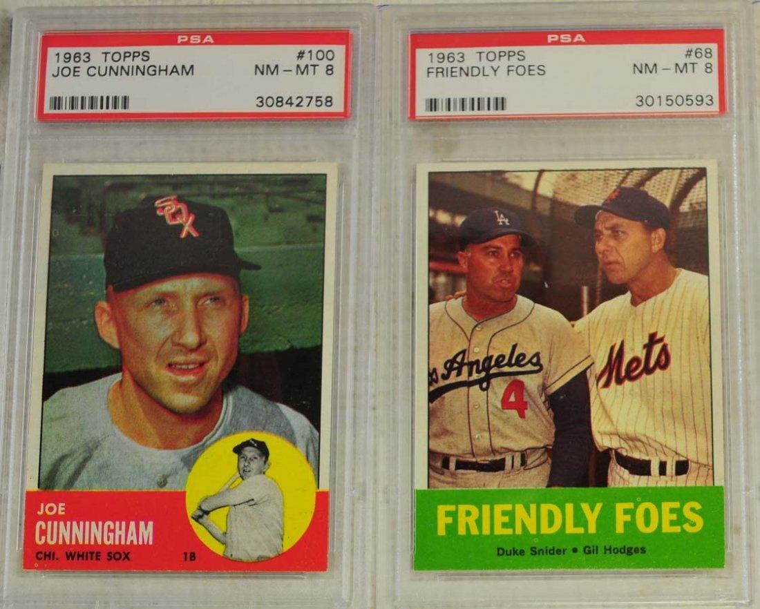 5 1963 Topps Baseball Cards PSA Graded 8 - 3