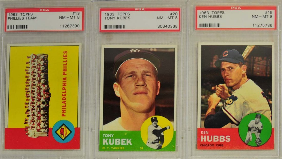 7 1963 Topps Baseball Cards PSA Graded 8 - 3