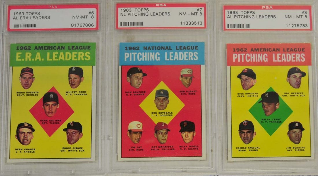 7 1963 Topps Baseball Cards PSA Graded 8